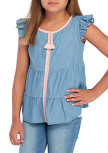 Girls 7-16 Tiered Chambray Peasant Top