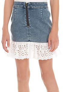Girls 7-16 Denim Flounce Eyelet Skirt