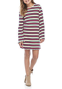 Girls 7-16 Long Sleeve Rib Knit Stripe Dress