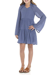 Girls 7-16 Long Sleeve Tiered Solid Woven Dress