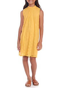 Girls 7-16 Allover Lace Mock Neck Dress
