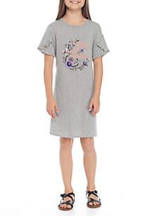 Girls 7-16 Short Sleeve Screen Knit Dress