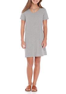 Wonderly Girls 7-16 Rib Knit Lattice Neck Dress