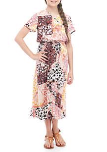 Wonderly Short Sleeve Patchwork Print Surplice Dress