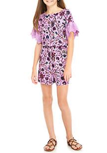 Floral Knit Eyelet Sleeve Romper