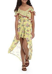Girls 7-16 Mix Print Walkthru Maxi Dress