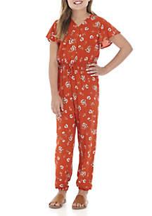 Girls 7-16 Short Sleeve Floral Print Jogger Jumpsuit