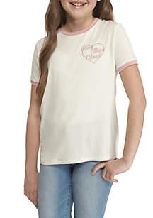 Embroidered Heart Ringer Tee Girls 7-16