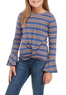 Girls 7-16 Long Flare Sleeve Knot Front Ribbed Tee