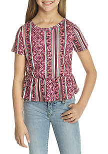 Girls 7-16 Printed Peplum Tee