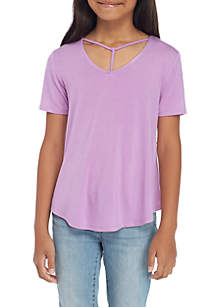 Girls 7-16 Short Sleeve Lattice Neck Tee