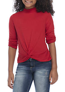 Girls 7-16 Long Sleeve Twist Front Top