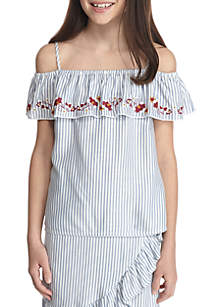 Off The Shoulders Striped Top Girls 7-16