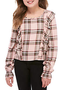Girls 7-16 Red Plaid Ruffle Woven Top