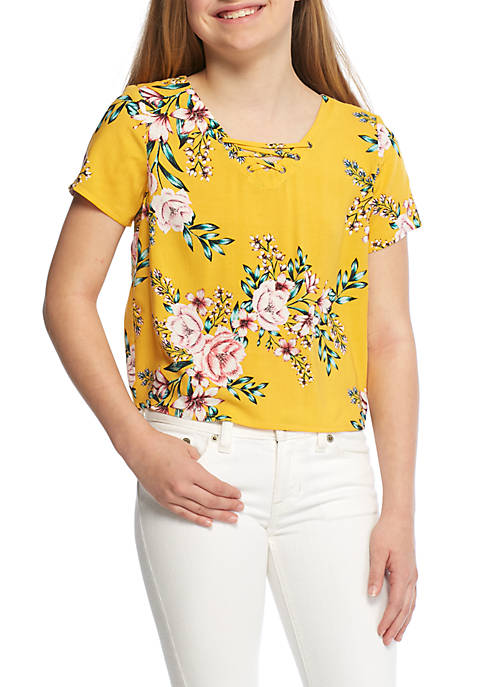 Wonderly Girls 7-16 Cropped Lace-Up Top