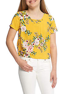 Girls 7-16 Cropped Lace-Up Top