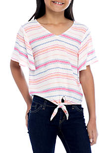 Striped Knotted V-Neck Top Girls 7-16