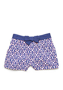 Coral Geo Shorts Girls 4-8