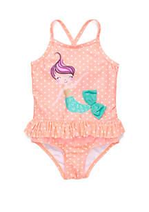 Lightning Bug Girls 4-6x Mermaid One Piece Swimsuit