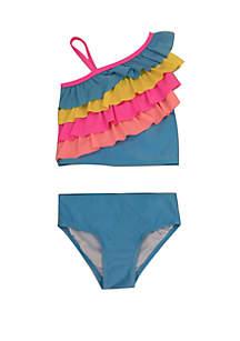 Lightning Bug Girls 4-6x Ruffle Tankini Swim Set