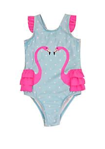 Lightning Bug Girls 4-6x Flamingo One Piece Swimsuit