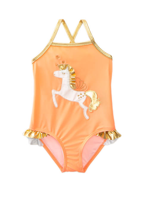 Lightning Bug Girls 4-6x Applique One Piece Swimsuit