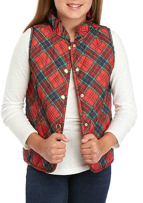 Crown & Ivy™ Girls 7-16 Plaid Puffer Vest