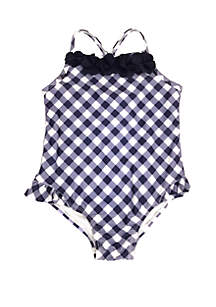 Crown & Ivy™ Girls 4-6x Gingham One Piece Swimsuit