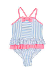 Crown & Ivy™ Girls 4-6x Seersucker One Piece Swimsuit