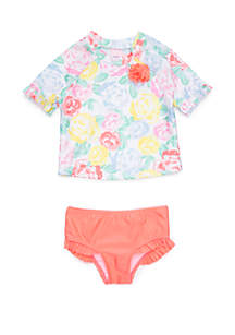 Crown & Ivy™ Girls 4-6x Floral Rash Guard Set