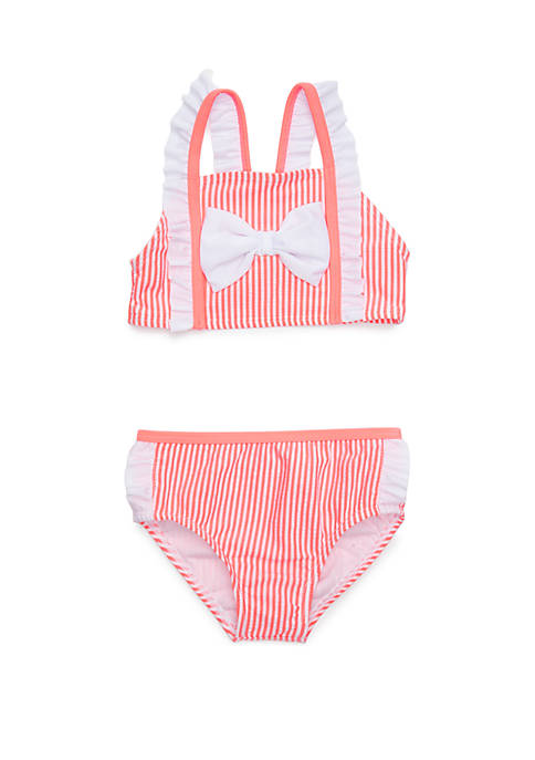 Girls 4-6x Seersucker Bow 2 Piece Bikini Swim Set