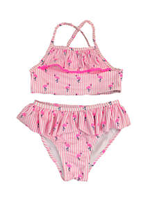 Crown & Ivy™ Girls 4-6x Flamingo Two Piece Swimsuit
