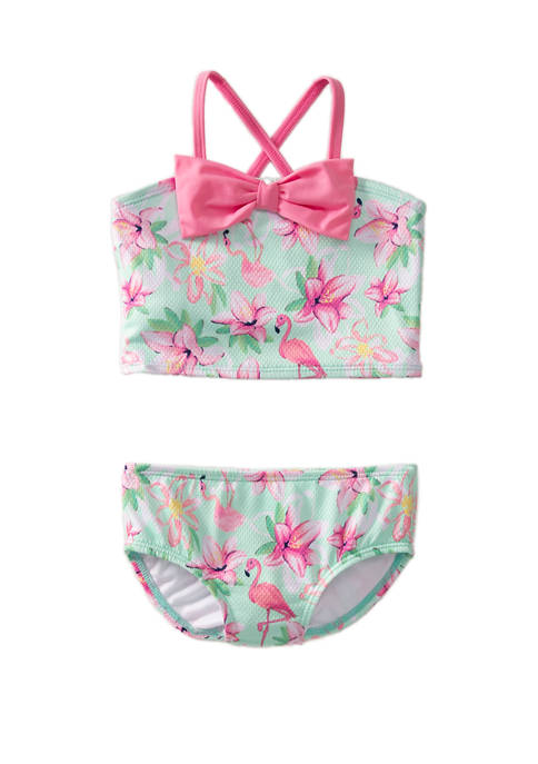 Crown & Ivy™ Girls 4-6x Green Floral 2