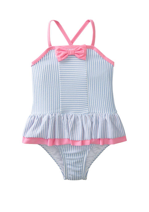 Crown & Ivy™ Girls 4-6x Blue Seersucker One
