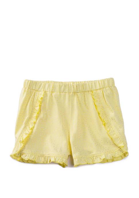 Lightning Bug Girls 4-6x Foil Print Ruffled Shorts