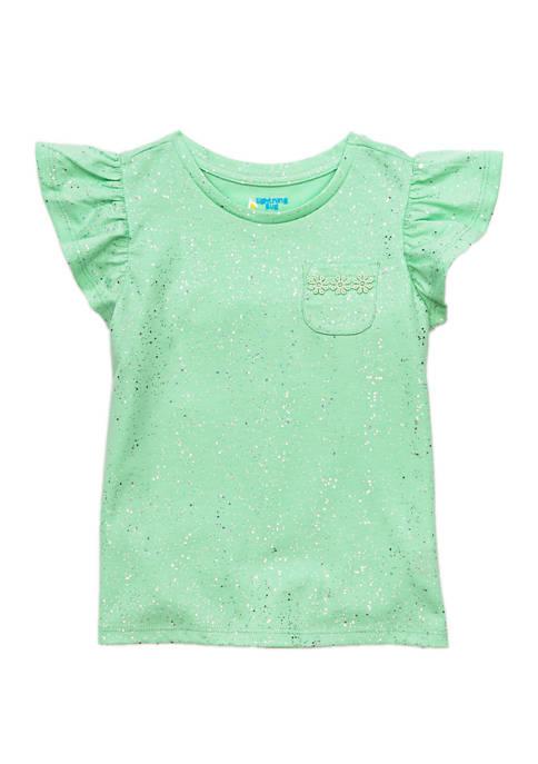 Lightning Bug Girls 4-8 Flutter Sleeve Pocket T-Shirt