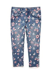 Girls 4-8 Discharge Print Denim Pants