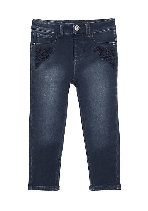 TRUE CRAFT Girls 4-8 Tonal Embroidered Denim Jeans