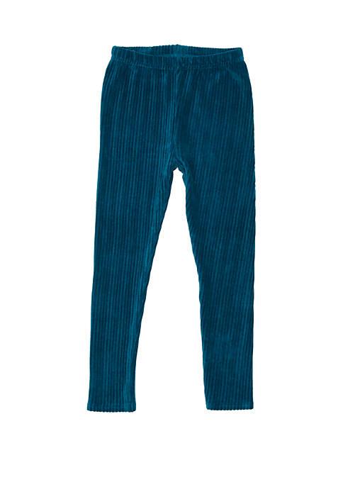 Girls 4-6x Rib Knit Velour Leggings