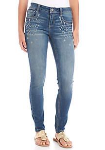Girls 7-16 Knit Denim Jeans with Rhinestone Pocket