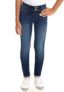 Crown & Ivy™ Girls 7-16 2-Button Dark Wash Knit Jeggings