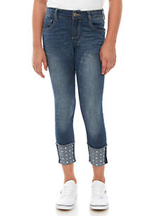 Crown & Ivy™ Girls 7-16 Roll Cuff Pearl Icarus Wash Skinny Jeans