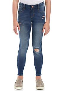 Girls 7-16 Gold Sequin Destruction Knit Skinny Jeans