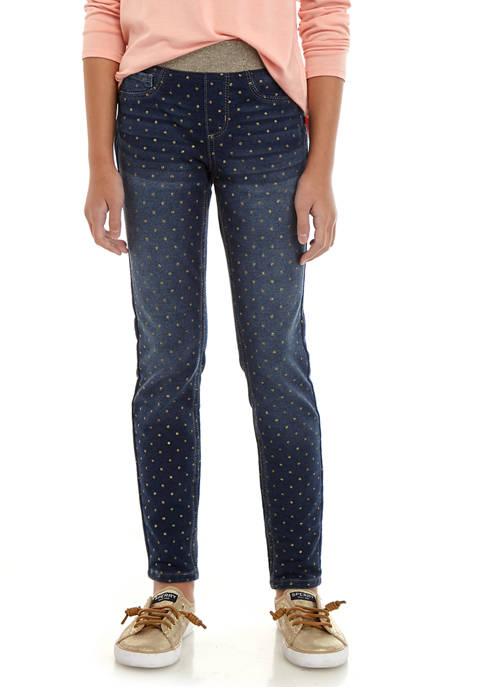 Crown & Ivy™ Girls 7-16 Gold Dotted Jeggings