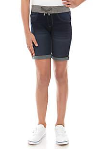 Crown & Ivy™ Girls 7-16 Rib Knit Layla Dark Wash Bermuda Shorts