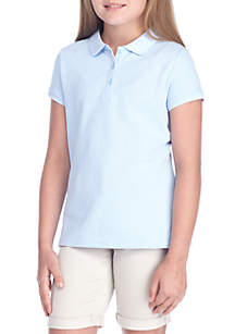 J. Khaki® Uniforms Girls 7-16 Short Sleeve Pique Polo Top