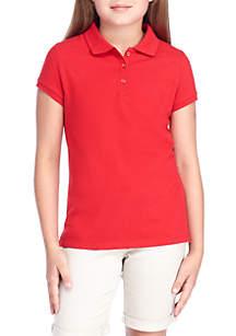 Girls 7-16 Short Sleeve Pique Polo Top