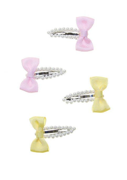 Girls Pearl Snap Clips with Growgrain Bow Set