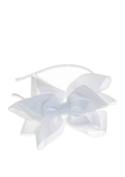 Crown & Ivy™ Girls White Double Loop Bow