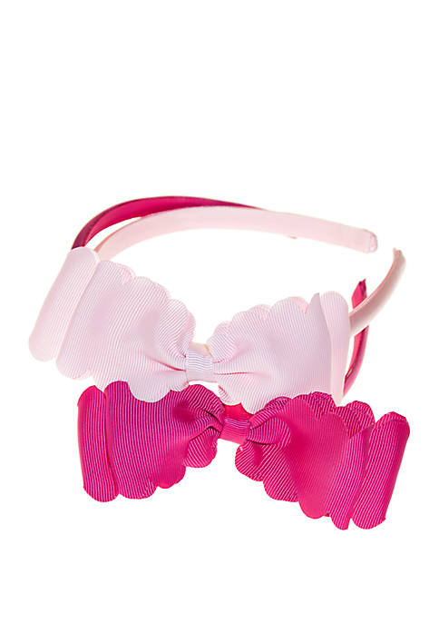 Crown & Ivy™ Girls 4-16 Gingham Scallop Bow
